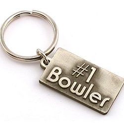 Personalized #1 Bowler Pewter Key Chain