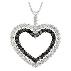 2 Carat Black & White Diamond Sterling Heart Pendant with Chain
