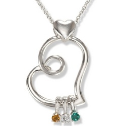 Abstract Heart Pendant & Necklace with Birthstone Charms