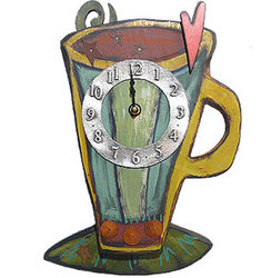 Coffee Cup Wall Clock in Carved Wood and Pewter