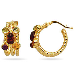 Multi Gemstone Hoop Earrings in 14k Yellow Gold