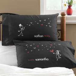Blown Away By Love Personalized Newlywed Pillowcases in Black