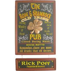 Personalized Rose and Shamrock Sign