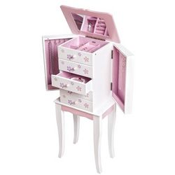 Girl's Pink and White Wooden Jewelry Armoire