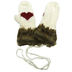 Sweetheart Style Mittens with Faux Fur Trim