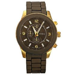 Designer Inspired Brown and Gold Watch
