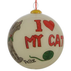 Personalized I Love My Cat Glass Christmas Ornament