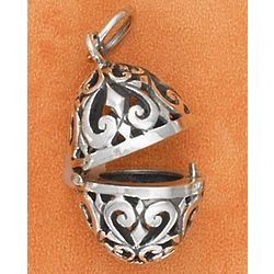 Hinged Sterling Silver Filigree Easter Egg Charm