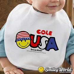 Personalized Patriotic Smiley Face Baby Bib