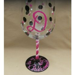 Will You Be My Bridesmaid Polka Dot Wine Glass