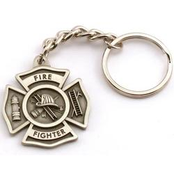 Engravable Fine Pewter Fire Fighter Key Chain