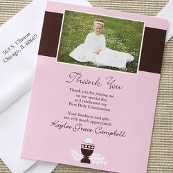 Bless This Child Girl's Custom Photo Communion Thank You Cards