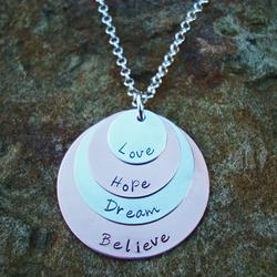 Love Hope Dream Believe Stacked Pendant Necklace