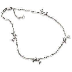 Puffy Dolphin Anklet in Sterling Silver