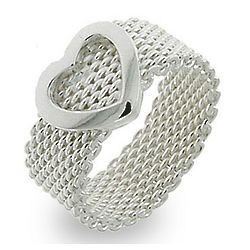 Tiffany Inspired Sterling Silver Mesh Heart Ring