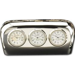 Three Time Zone Clock in Silver