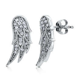 Sterling Silver Cubic Zirconia Angel Wings Stud Earrings