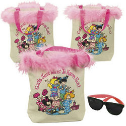 Slumber Party Tote Bags with Marabou Trim