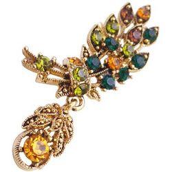 Antique Gold Leaf Multicolor Crystals Brooch