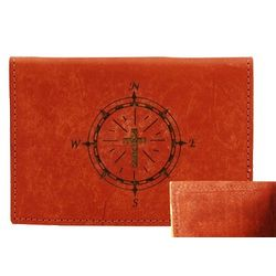 Leather Passport Wallet with Cross