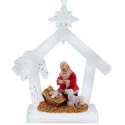 Kneeling Santa at Manfer Acrylic Ornament
