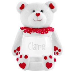 Personalized Valentine Plush Bear Treat Jar