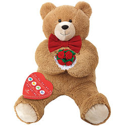3 Foot Hunka Love Teddy Bear with Bowtie, Roses and Chocolate