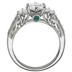 Silvertone Three Cubic Zirconia Hidden Birthstone Promise Ring