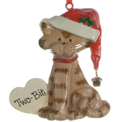 Personalized Tan Cat with Heart Christmas Ornament