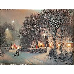 Christmas Dreams Lit Canvas Winter Scene