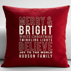 Personalized Seasons Greetings Throw Pillow Cover
