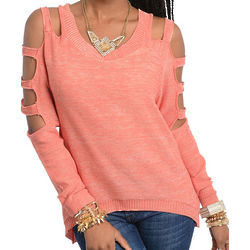Coral Sexy Cut Out Long Sleeve Shimmery Sweater