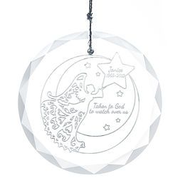 Personalized Memorial Angel Round Faceted Glass Ornament