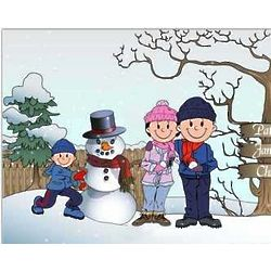 Snowman and Family Personalized Cartoon