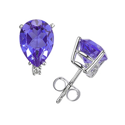 Pear Tanzanite and Diamond Stud Earrings in 14K White Gold