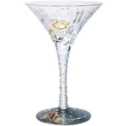 Girl's Best Friend Hand-Painted Martini Glass
