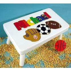 Name Puzzle Stool with Sports Theme in White Finish