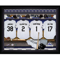 Personalized Colorado Rockies MLB Locker Room Framed Print