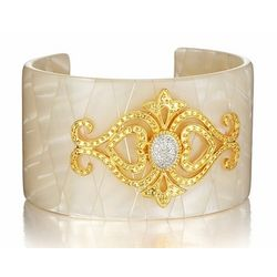 Wide Ivory Cuff Bangle with Diamond Hearts