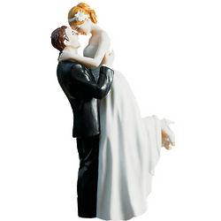 Hand Painted Bride and Groom Porcelain Cake Topper