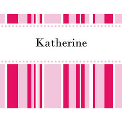 Personalized Red and Pink Stripes Cards and Envelopes