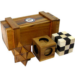 Puzzle Box with 3 Brain Teasers