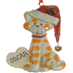Personalized Tabby Cat with Heart Christmas Ornament