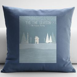 Personalized Winter Scene Throw Pillow Cover