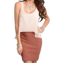 Peach Brick Classy Sleeveless Chiffon Party Dress
