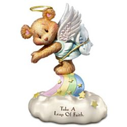 Leap of Faith Teddy Bear Guardian Angel Figurine