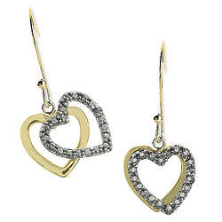 Diamond Two-Tone Heart Drop Earrings