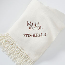 Ivory Wedding and Anniversary Embroidered Throw Blanket