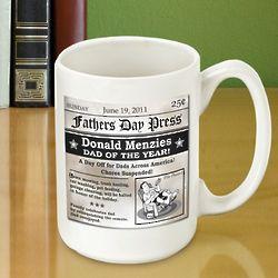 Personalized Father's Day Headline Coffee Mug