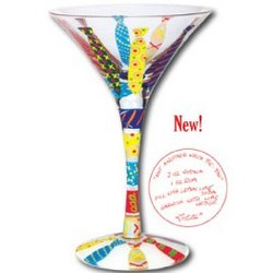 Not Another Neck-tie Hand-Painted Martini Glass